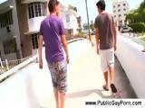 Gay guy sucking dick at a public place