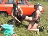 Two Members Of Russian Paramilitary Group Beat Up Husband And Brutally Fucks His Wife In Front Of Him